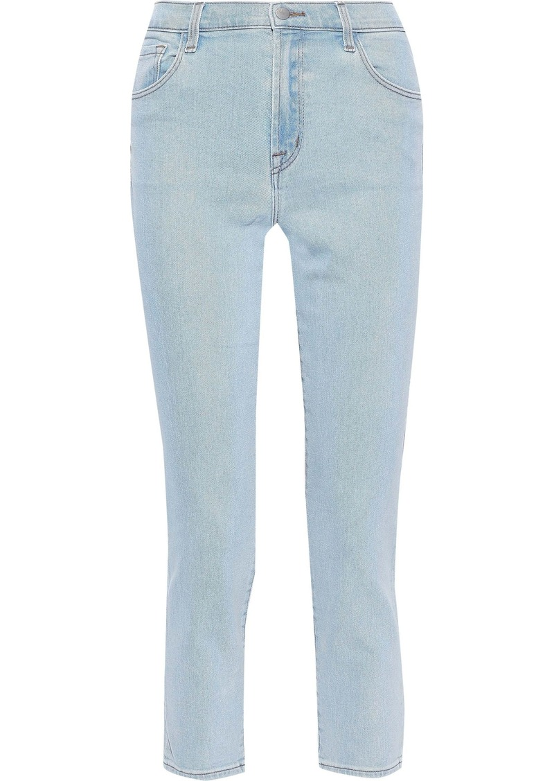 J Brand Woman Ruby Cropped Faded High-rise Slim-leg Jeans Light Denim