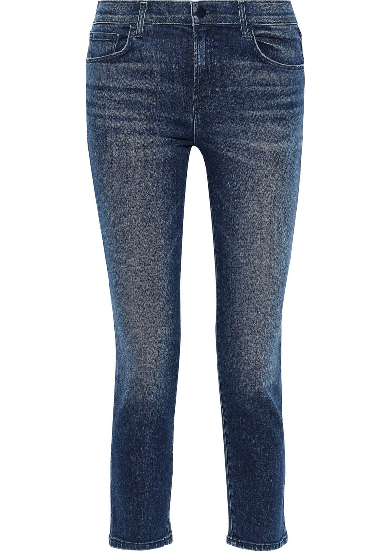 J Brand Woman Ruby Cropped Faded High-rise Slim-leg Jeans Mid Denim