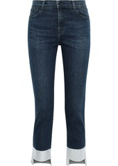 J Brand Woman Ruby Cropped Metallic High-rise Slim-leg Jeans Mid Denim