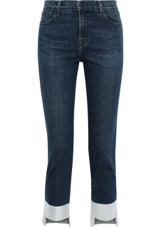 J Brand Woman Ruby Cropped Metallic High-rise Slim-leg Jeans Mid Denim