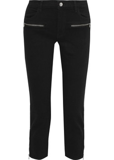 J Brand Woman Ruby Cropped Mid-rise Slim-leg Jeans Black