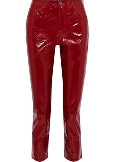 J Brand Woman Ruby Cropped Patent-leather Slim-leg Pants Crimson