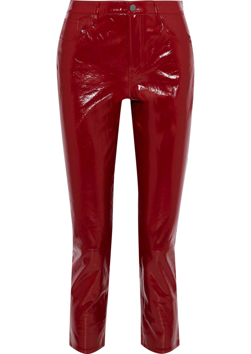 J Brand Woman Ruby Cropped Patent-leather Slim-leg Pants Crimson