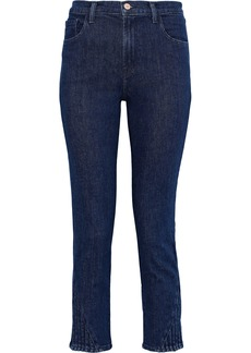 J Brand Woman Ruby Cropped Pintucked Mid-rise Slim-leg Jeans Dark Denim