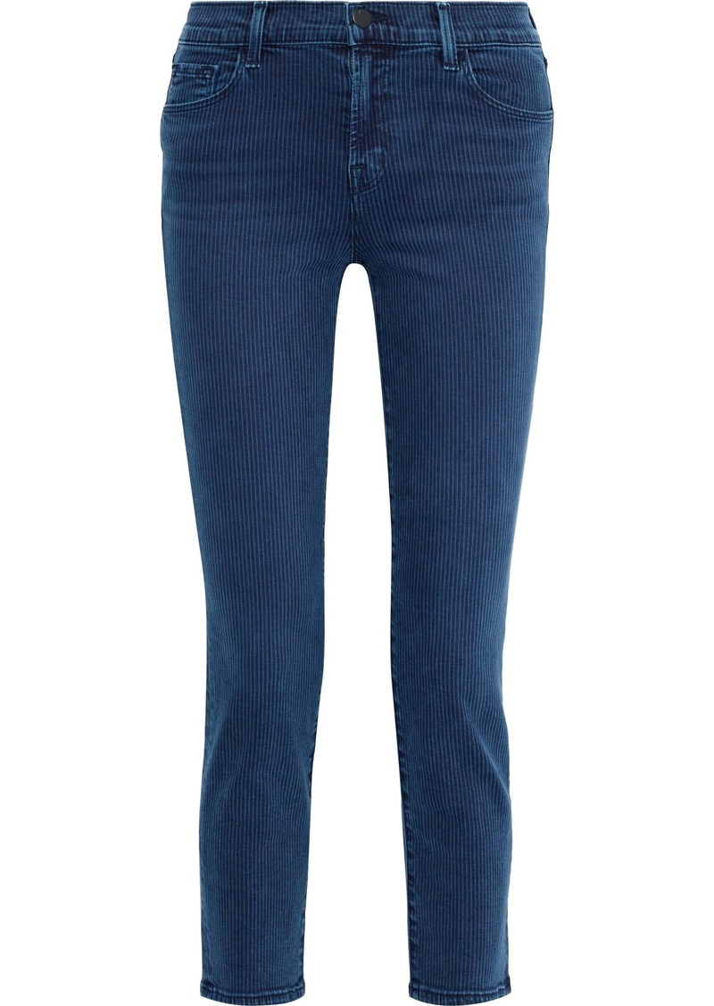 J Brand Woman Ruby Cropped Striped High-rise Slim-leg Jeans Mid Denim