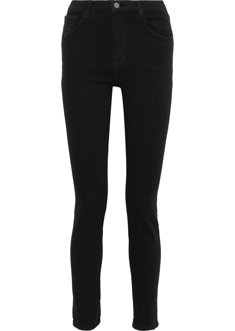 J Brand Woman Ruby Glittered High-rise Skinny Jeans Black