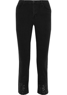 J Brand Woman Ruby Laser-cut Leather-paneled Mid-rise Straight-leg Jeans Black