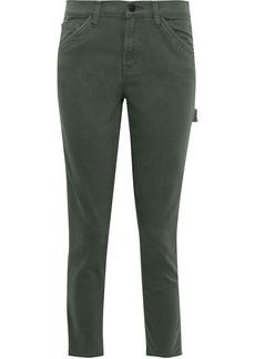 J Brand Woman Ruby Painter Cropped Cotton-blend Twill Slim-leg Pants Grey Green