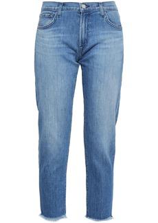J Brand Woman Sadey Cropped Jacquard-trimmed Mid-rise Slim-leg Jeans Mid Denim