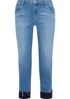 J Brand Woman Sadey Cropped Mid-rise Slim-leg Jeans Mid Denim