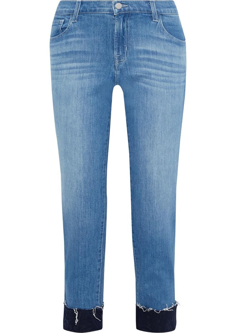 J Brand Woman Sadey Cropped Mid-rise Slim-leg Jeans Blue