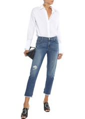 J Brand Woman Sadie Cropped Distressed Mid-rise Slim-leg Jeans Mid Denim