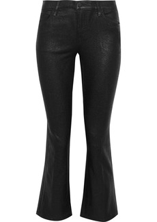 J Brand Woman Selena Coated Mid-rise Kick-flare Jeans Black