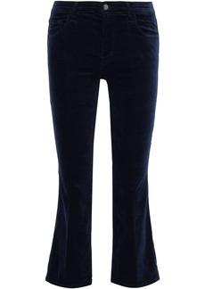 J Brand Woman Velvet Kick-flare Pants Midnight Blue