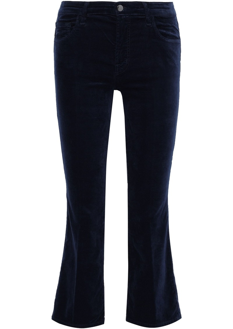 J Brand Woman Velvet Kick-flare Pants Midnight Blue