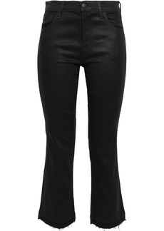 J Brand Woman Selena Cropped Coated Mid-rise Bootcut Jeans Black