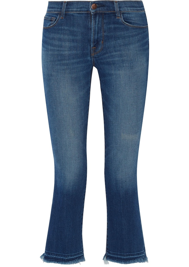 J Brand Woman Selena Cropped Frayed Mid-rise Bootcut Jeans Mid Denim