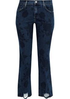 J Brand Woman Selena Distressed Printed Mid-rise Straight-leg Jeans Dark Denim