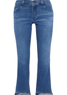 J Brand Woman Selena Faded Mid-rise Kick-flare Jeans Blue