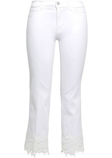 J Brand Woman Selena Guipure Lace-trimmed Mid-rise Kick-flare Jeans White