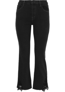 J Brand Woman Selena Guipure Lace-trimmed Mid-rise Straight-leg Jeans Black
