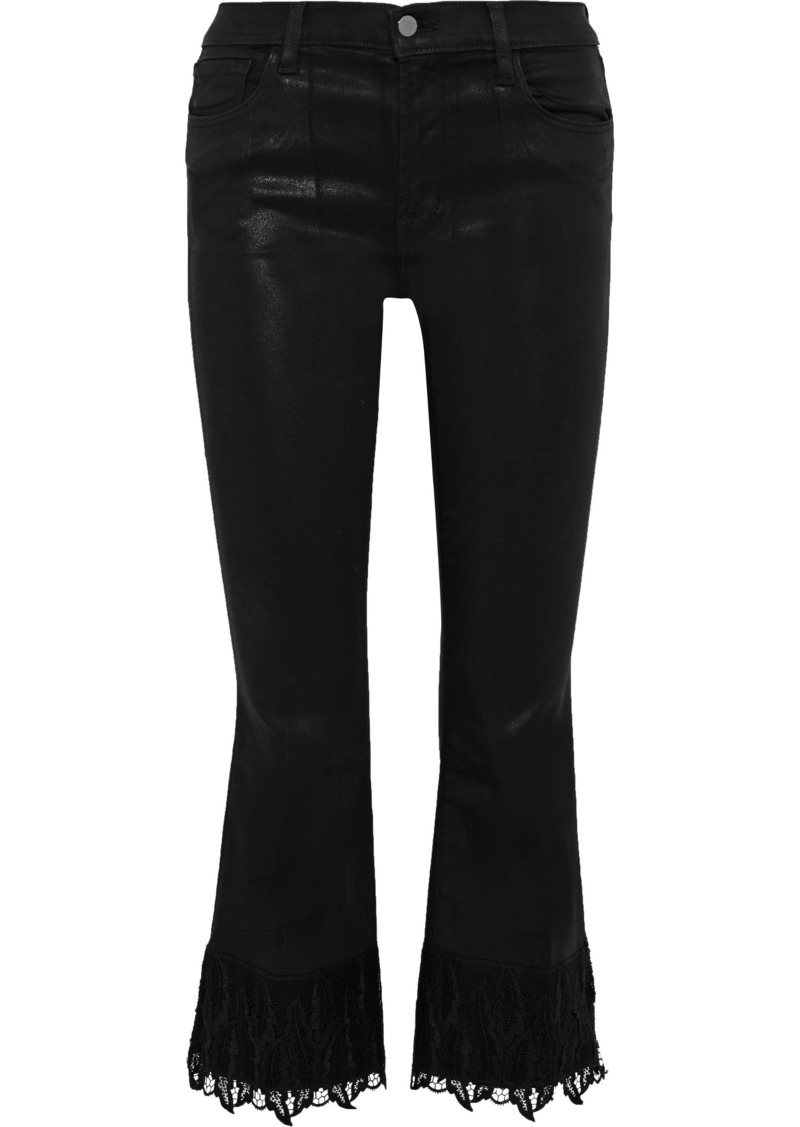 J Brand Woman Selena Lace-trimmed Coated Twill Kick-flare Pants Black