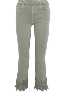 J Brand Woman Selena Guipure Lace-trimmed Mid-rise Kick-flare Jeans Grey Green