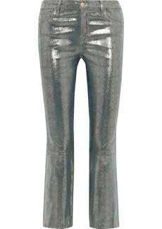 J Brand Woman Selena Metallic Snake-print Leather Kick-flare Pants Gunmetal