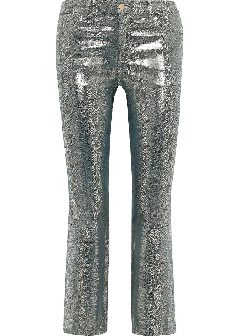 J Brand Woman Selena Metallic Snake-print Leather Kick-flare Pants Gunmetal