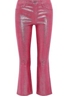 J Brand Woman Selena Metallic Snake-print Leather Kick-flare Pants Pink