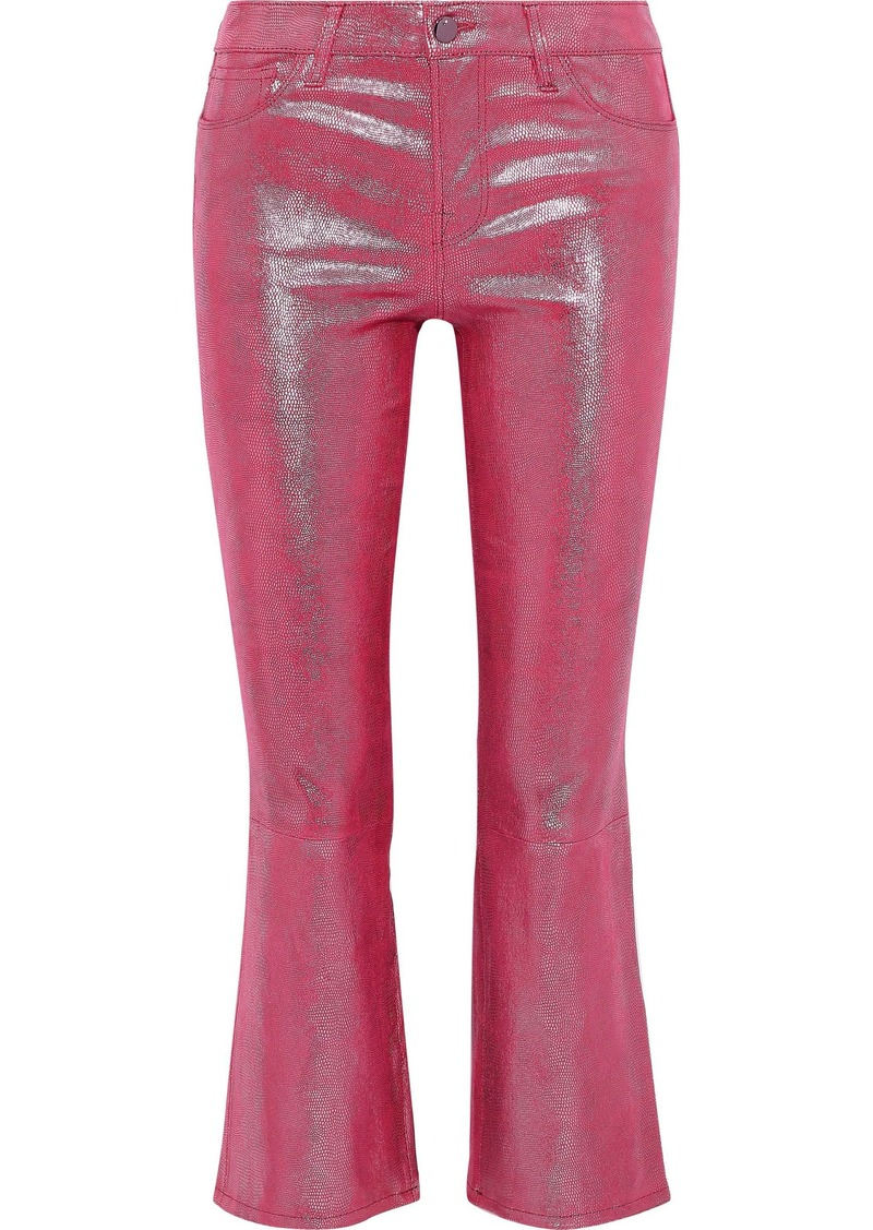 J Brand Woman Selena Metallic Snake-print Leather Kick-flare Pants Pink