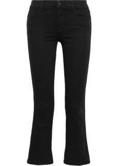 J Brand Woman Selena Metallic-trimmed Mid-rise Kick-flare Jeans Black