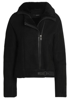 J Brand Woman Shearling And Leather-trimmed Suede Jacket Black