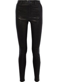 J Brand Woman Stretch-leather Skinny Pants Black