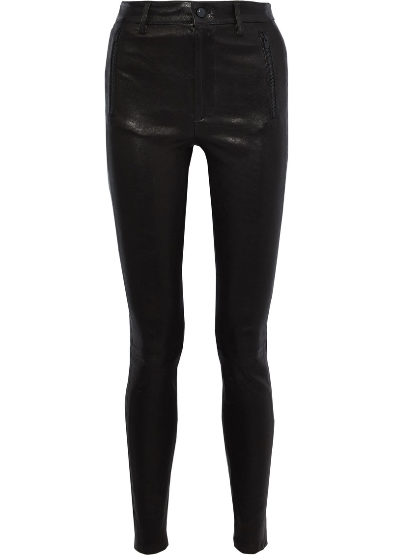 J Brand Woman Stretch-leather Skinny Pants Black