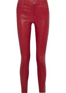 J Brand Woman Stretch-leather Skinny Pants Crimson
