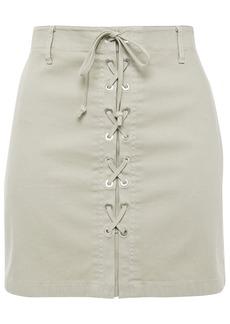 J Brand Woman Talia Lace-up Cotton-blend Canvas Mini Skirt Sage Green