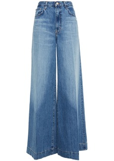 J Brand Woman Thelma Distressed High-rise Wide-leg Jeans Mid Denim