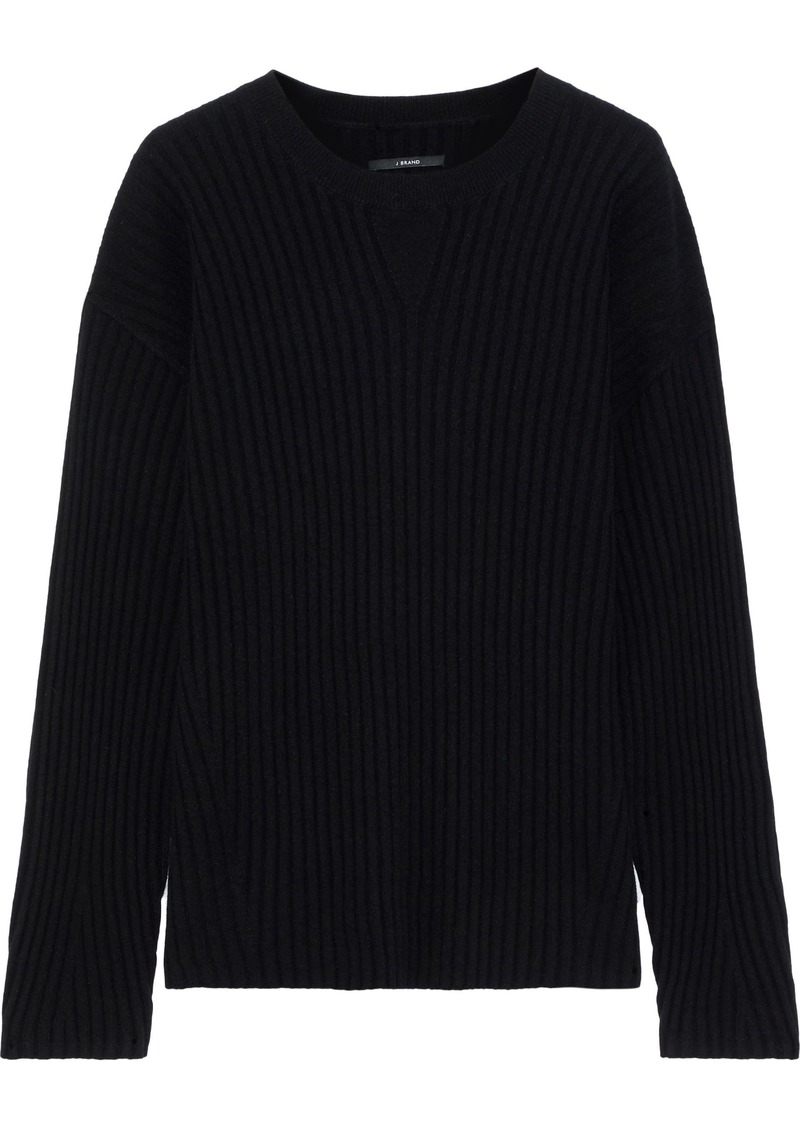J Brand Woman Tiffany Ribbed Cashmere Sweater Black