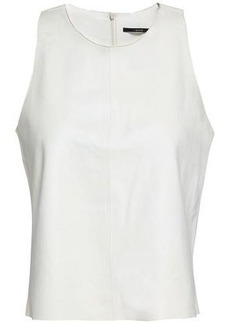 J Brand Woman Trevia Leather Top Off-white