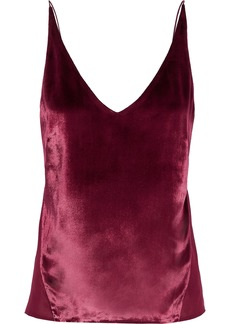 J Brand Woman Lucy Crushed-velvet And Silk-georgette Camisole Plum