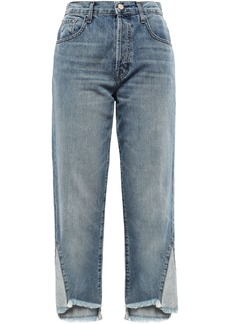 J Brand Woman Wynne Cropped Distressed High-rise Straight-leg Jeans Light Denim