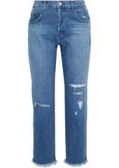 J Brand Woman Wynne Cropped Distressed High-rise Straight-leg Jeans Mid Denim
