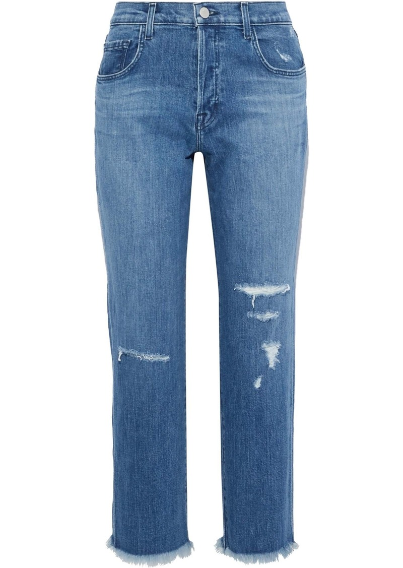 J Brand Woman Wynne Cropped Distressed High-rise Straight-leg Jeans Mid Denim