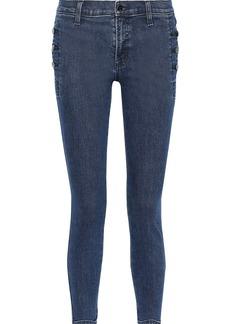 J Brand Woman Zion Button-detailed Distressed Mid-rise Skinny Jeans Dark Denim