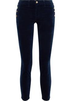 J Brand Woman Zion Stretch Cotton-blend Velvet Skinny Pants Midnight Blue