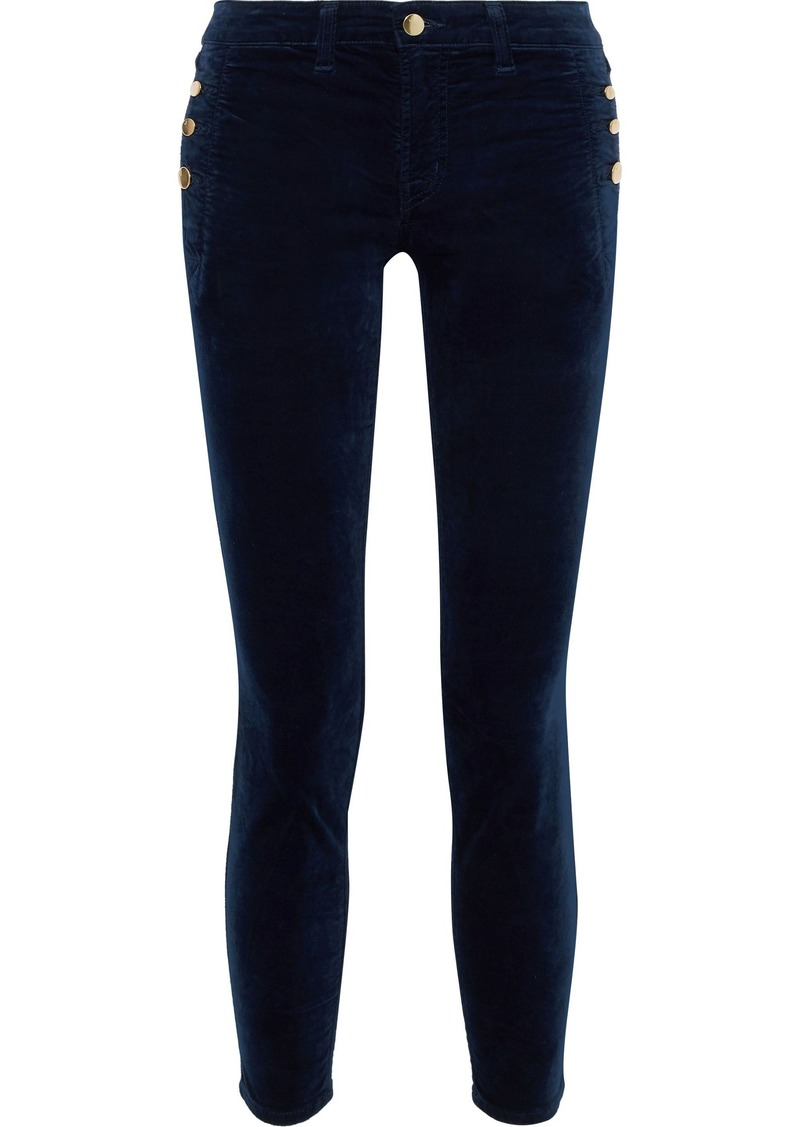J Brand Woman Zion Button-detailed Velvet Skinny Jeans Midnight Blue