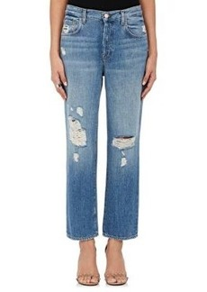 J Brand Women's Ivy High-Rise Crop Straight Distressed Jeans