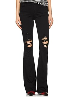 J Brand Women's Maria Distressed High-Rise Flared Jeans