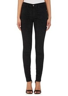 J Brand Women's Python-Print Velvet Super Skinny Jeans